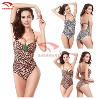 Hot ! 2019 New Leopard Print Sexy bodysuit push up Nylon Women Beach G string Thong Swimsuit One Piece cover up Swimwears VS008