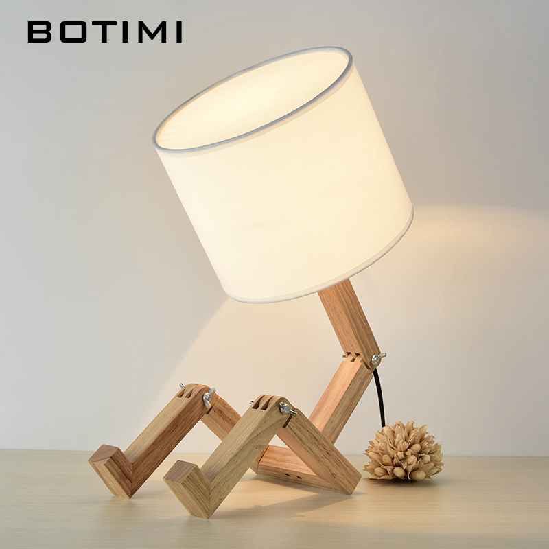 BOTIMI European Style Table Lamp Wooden Bedside with Fabric Lampshade lamparas de mesa Desk Light Deco Luminaria For Living Room 5 colors ceramic table lamp for living room desk lamp luminaria de mesa for kid s room