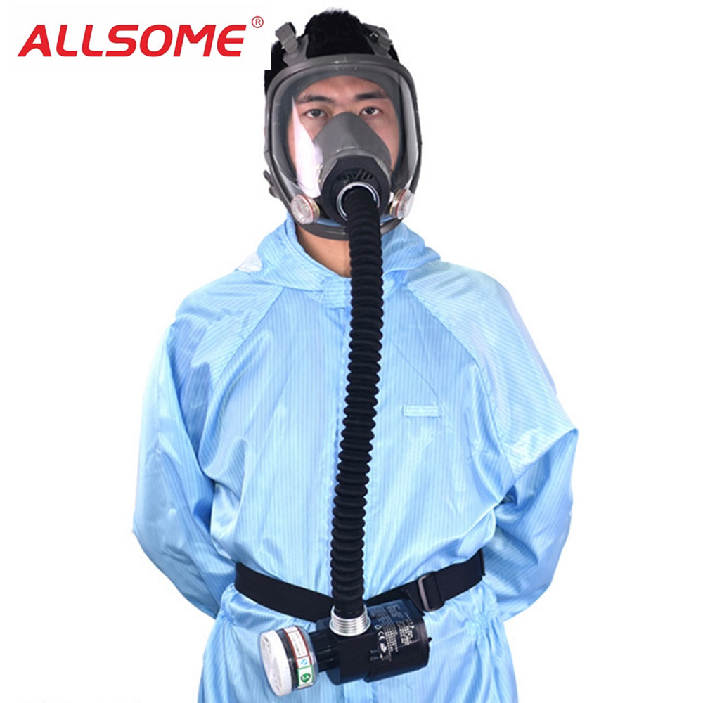 ALLSOME Electric Constant Flow Supplied Air Fed Full Face Gas Mask Spray Painting Tool Welding Helmet Respirator System
