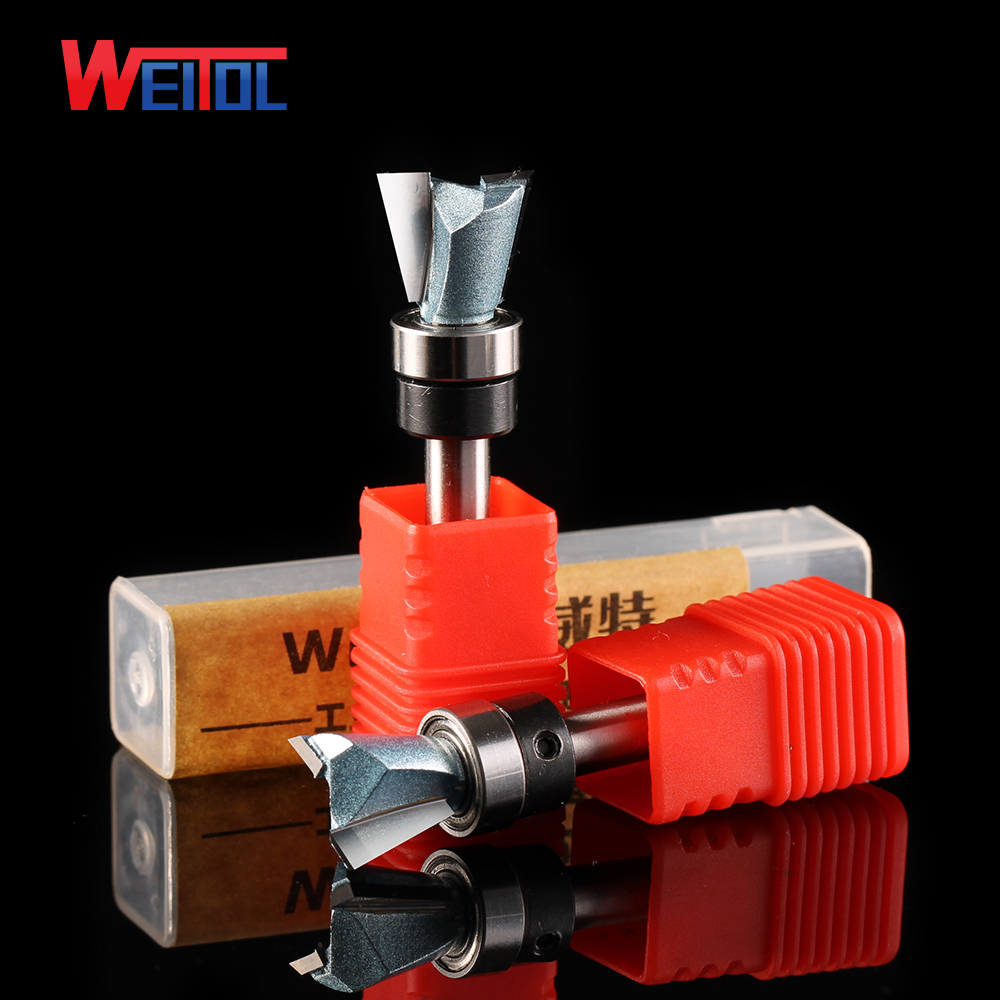 Weitol 1pcs 1/4 inch tungsten carbide Dovetail bit with bearing CNC router bits woodworking tools milling cutter 16pcs 14 25mm carbide milling cutter router bit buddha ball woodworking tools wooden beads ball blade drills bit molding tool