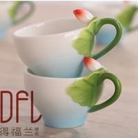 6PCS New 3D Lotus Enamel Coffee Tea Cup Mug Creative Bone China Ceramic Drinkware Chinese Kung Fu Drinking
