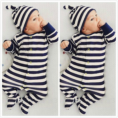 ba82215651c Retail Baby Romper Infant Romper Newborn Boys Girls Polo Jumpsuit With Hat  Hoodie Striped romper Baby Girl Boy Clothing