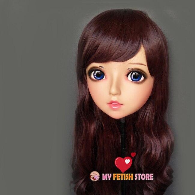 (Zhu-01)Female Sweet Girl Resin Half Head Kigurumi BJD Eyes Crossdress Cosplay Japanese Anime Role Lolita Mask With Eyes And Wig