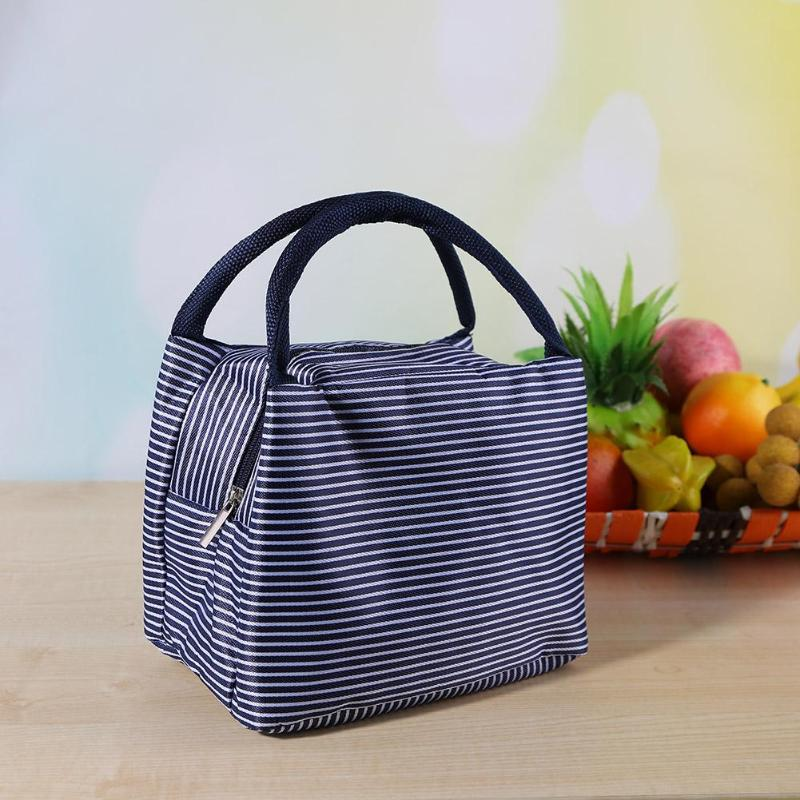 Waterproof Storage Lunch Bag Stripe Insulated Bento Bag Thermal Food Picnic Tote Cooler Bags Thermal Food Picnic Lunch Bags