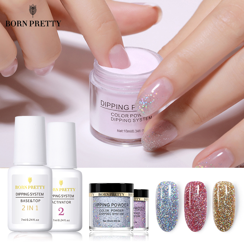 BORN PRETTY Dipping Nail Powders Base Coat Gradient French Nail Natural Color Holographic Glitter Cure Nail Art Decorations circle