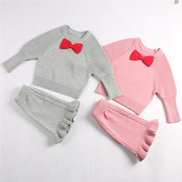 2PCS LOT New Spring Baby Girls Cute Cartoon Knitting Clothes Set Children S Suit Kids Clothing