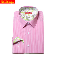 men's long sleeve pink white pin striped dress shirts male tailored 6789 XL business office cotton slim fit 2018 spring summer