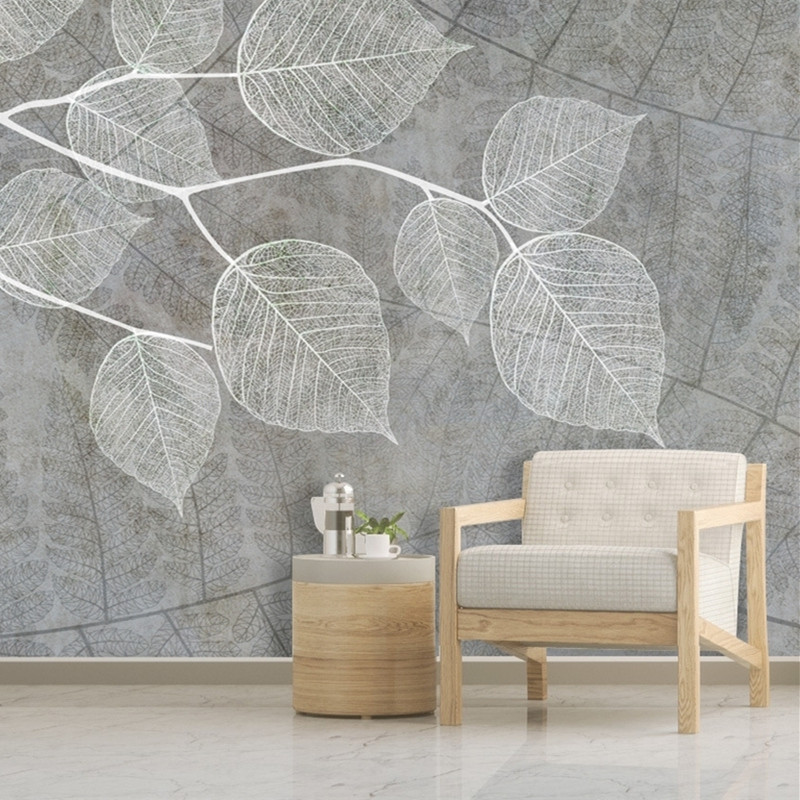 Modern Light Grey Wallpapers for Walls 3D Photo Wall Papers Living Room Home Decor Vintage Creative 3D Wallpapers Murals Leaf modern embossed 3d wallpapers rolls luxury striped wallpapers non woven desktop wall papers home decor bedroom walls coverings