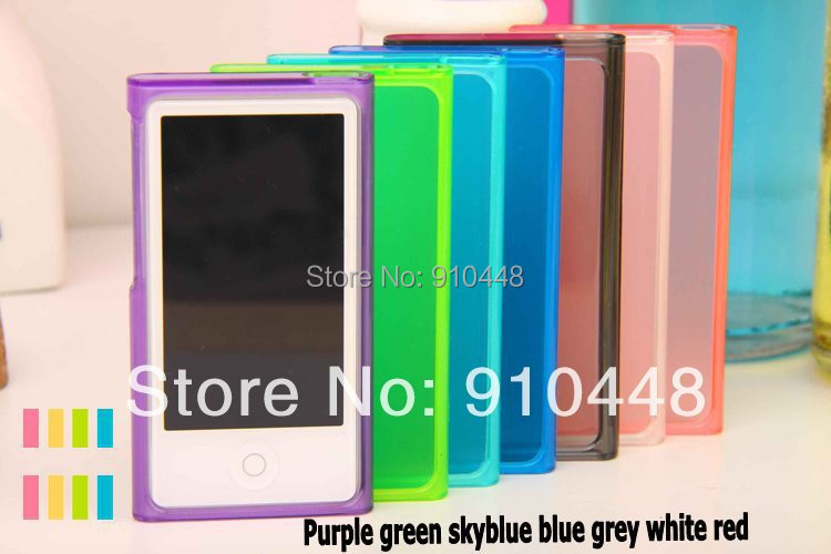 Free shipping High Quality Candy Color Soft TPU Silicone Case for Apple iPod Nano 7 with Retail package screen protector