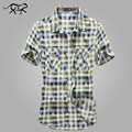 2017 European casual style M- XXXL obesity men's summer 100% pure cotton plaid loose short sleeve shirts man Green tops