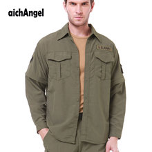 82e6457fba72 Men Shirt Removable Quick Dry Breathable Tactical Shirt Summer Travel  Military Workout Long Sleeve Shirts Plus