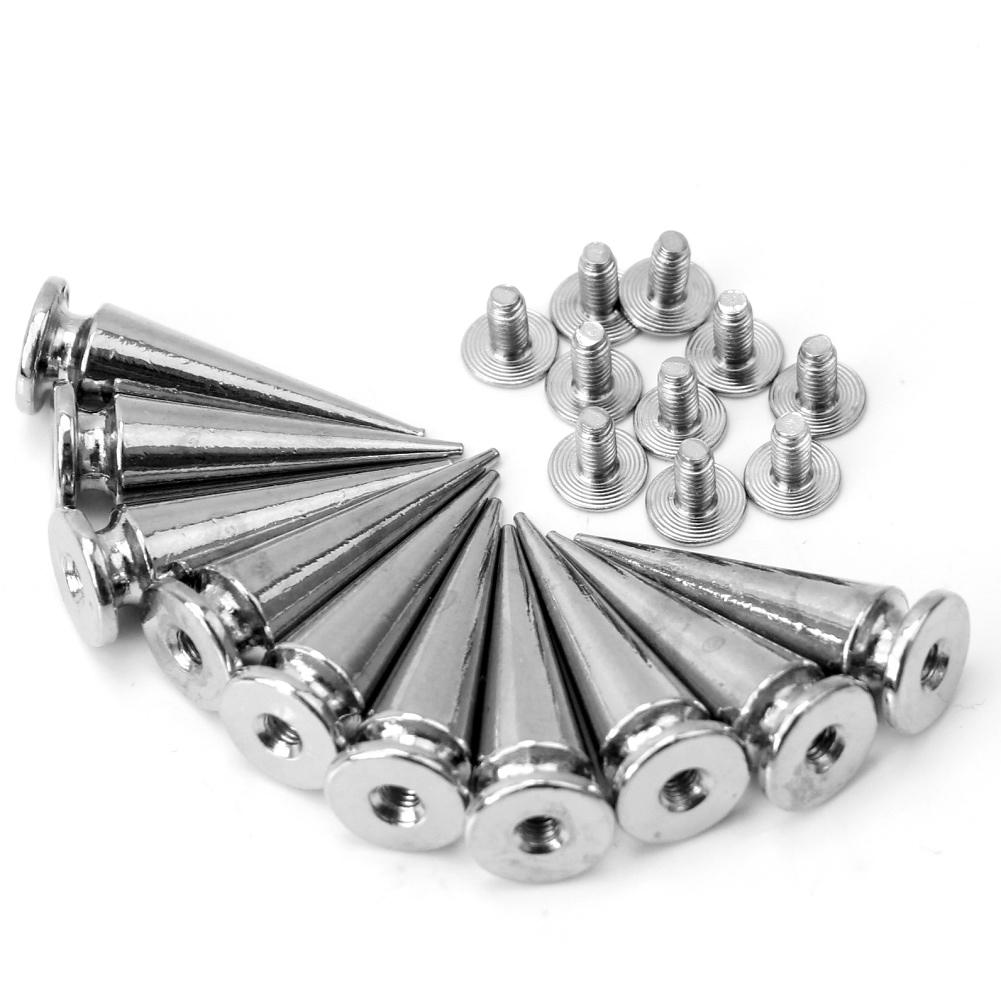10pcs 8mm Punk Rock Cone Screwback Rivets Studs Spikes For Clothes Clothing Shoes Bags Leathercraft Belt Decoration DIY Craft