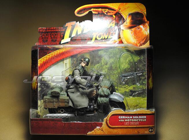 UNIQUE! 10CM High Classic Toy <font><b>Raiders</b></font> <font><b>of</b></font> <font><b>the</b></font> <font><b>Lost</b></font> <font><b>Ark</b></font> <font><b>Indiana</b></font> <font><b>Jones</b></font> German cavalry patrol motorcycle action figure Toys