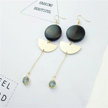 Free shipping Euramerican style natural wood geometric simplicity temperament splicing chain women earrings