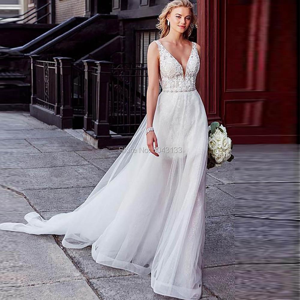 Lace V Neck Wedding Dresses With Detachable Skirt 2019 Two Piece A Line Wedding Bridal Gown Beading Sash Vestido De Festa F72