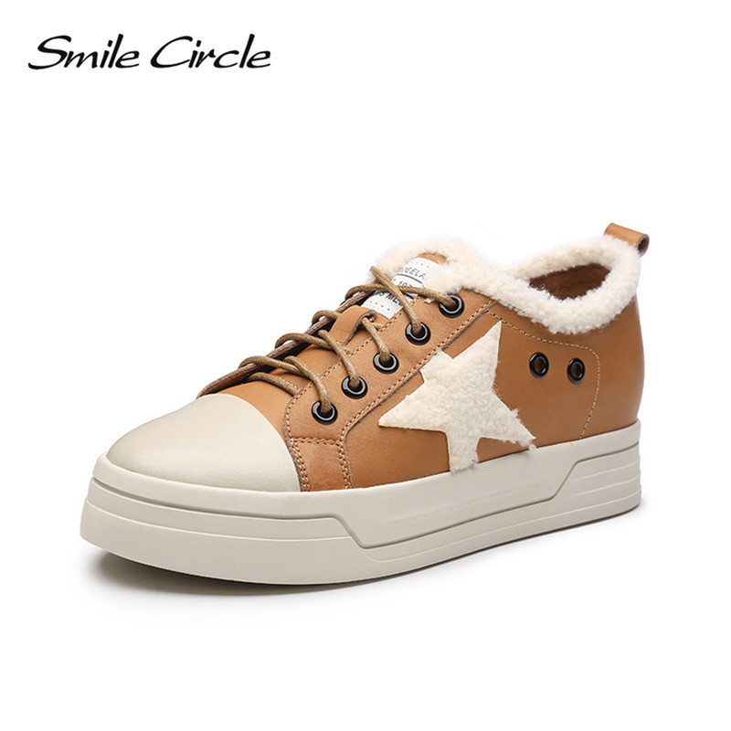 Smile Circle 2017 Winter Shoes For Women Genuine Leather Wedge Sneakers Women Shoes Fashion Stars Warm Wool Platform Sneakers nayiduyun women genuine leather wedge high heel pumps platform creepers round toe slip on casual shoes boots wedge sneakers