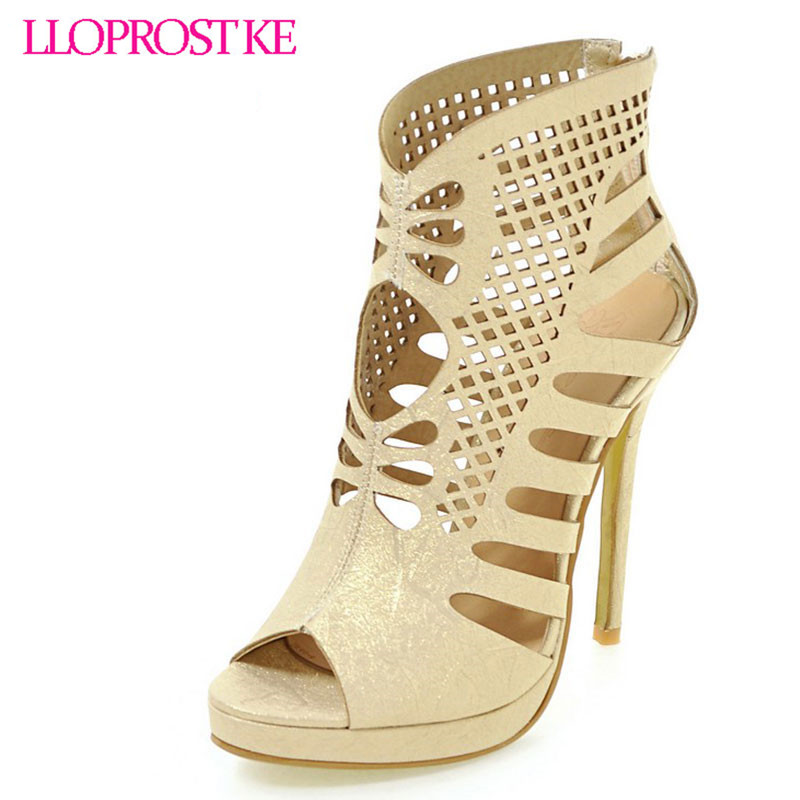 LLOPROST KE NEW woman shoes high heels gladiator women pumps sexy hollows ladies stiletto party wedding summer shoes dxj2128