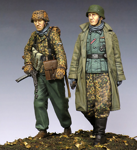 Free Shipping 1/35 Scale Unpainted Resin Figure WW2 Ardennes German soldiers 2 figures collection figure