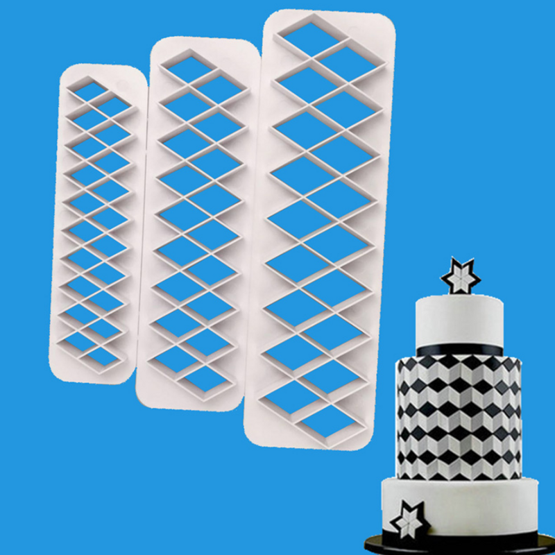 3PCS Square Geometrical Shape Fondant Cake Cutter Print Mold Biscuit Mold DIY