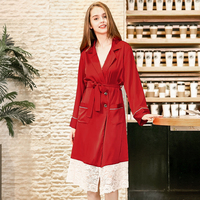 NG0268 Women Satin Silk Night Robe Sexy Lace Robe Ladies Black Red Bath Robe Bathrobe Nightgowns Full Sleeves Female Homewear