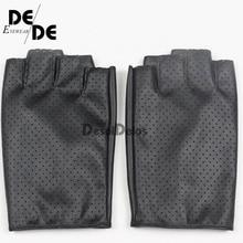 Fashion Women Fingerless Gloves Breathable Soft Leather Gloves for Dance Party Show Women Black Half Finger Mittens. недорого