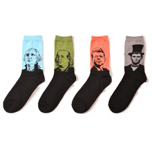 Art Abstract Oil Painting Men s Cotton Socks Famous People Pattern Lincoln President Funny Casual Dress