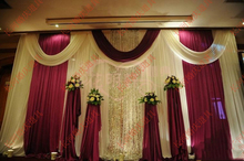 Wedding 3mx6m backdrop luxurious marriage stage background with Beatiful Swag wedding stage backdrop decoration