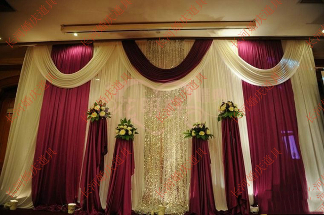 Wedding 3mx6m Backdrop Luxurious Marriage Stage Background With Beatiful Swag Decoration
