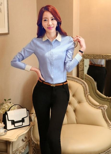 Terninhos formais Para Escritório Senhoras 2015 Primavera Outono Fino Uniforme Moda Design Mulheres De Negócios Blusa E Calças Set
