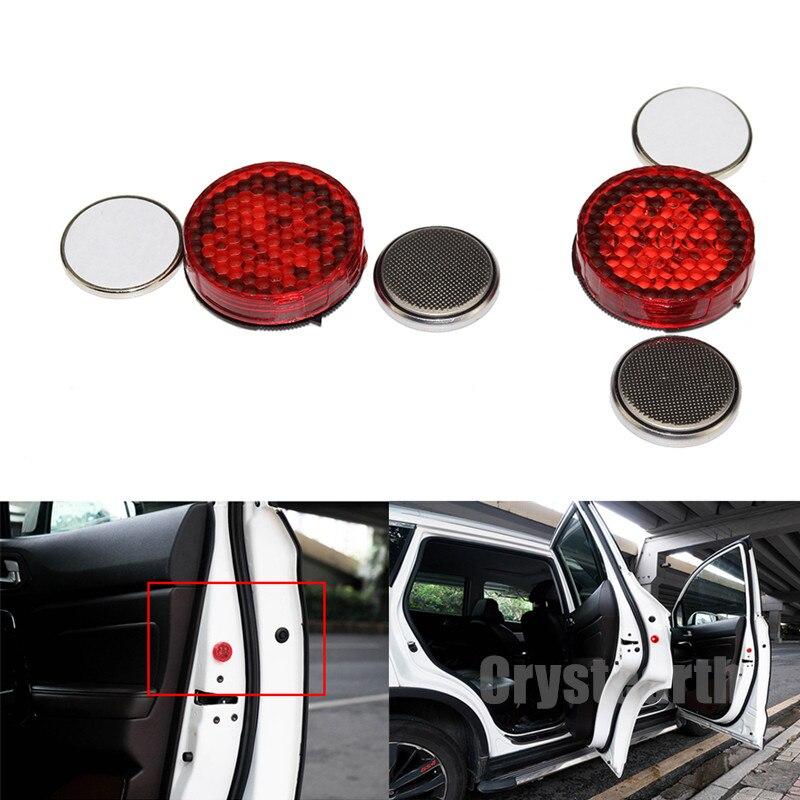 2Pcs Car Door Lights LED Warning Anti Collision Magnetic Flashing Lamp Auto Strobe Traffic Light Safety Signal Sticker Universal