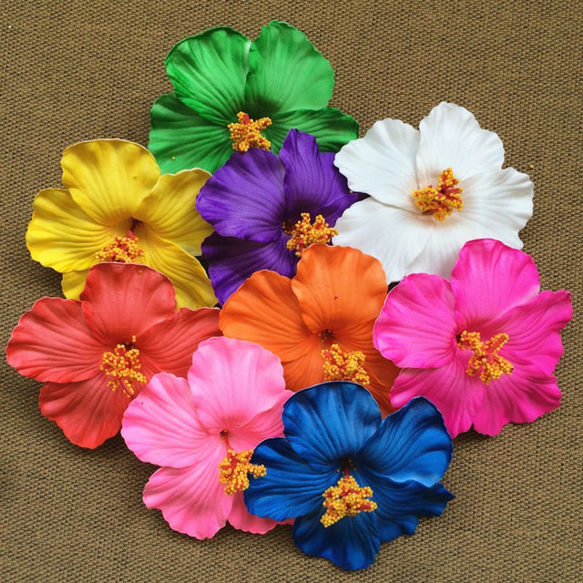 Happykiss 18pcs Mixed Colors Foam Hawaiian Flower Hibiscus Flower