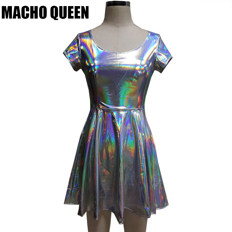 Summer Silver Holographic Skater Dress Women Music Festival Rave Dress Clothes Outfits Vintage Boho Dresses Cute Dress