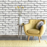 HaokHome 3d Vintage Faux Brick Textured Wallpaper Rolls White/Gray Rust Brick Stacked Murals Home Kitchen Bathroom Decor