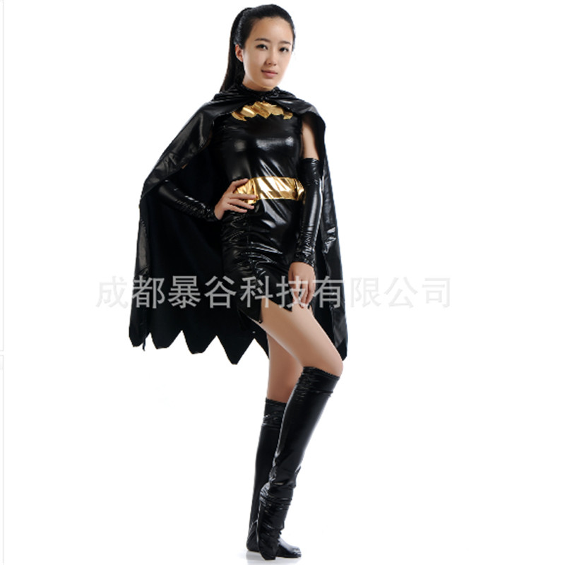 2017 high quality sexy black batman costume batgirl dress superhero cosplay zentai cape adult women halloween costumes for women