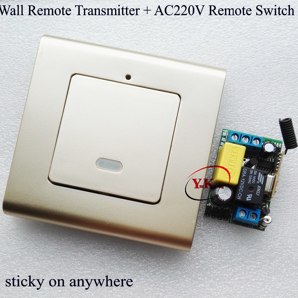 Wall Sticky Remote Control Transmitter + 220V Mini Receiver Remote Switch BedRoom corridor stairway LED Lamp Bulb Light Wireless mini stable 10a 220v 1ch rf remote control switch system for led bulb light strips receiver 86 wall panel transmitter