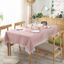 Red white striped decorative cloth linen cotton tablecloth household table cover dustproof washable moist tape