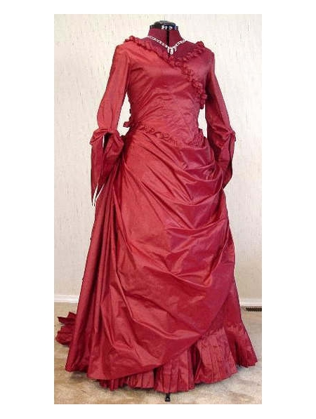 Victorian Red Bustle Ball Gown Floral Dress Theatre Reenactment Costumes Lace Solid Queen Dress Customment