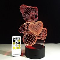 Cute Heart Bear Butterfly Dinosaur 3D Lamp LED Novelty Night Light USB Light Glowing Children Gifts with Remote Control