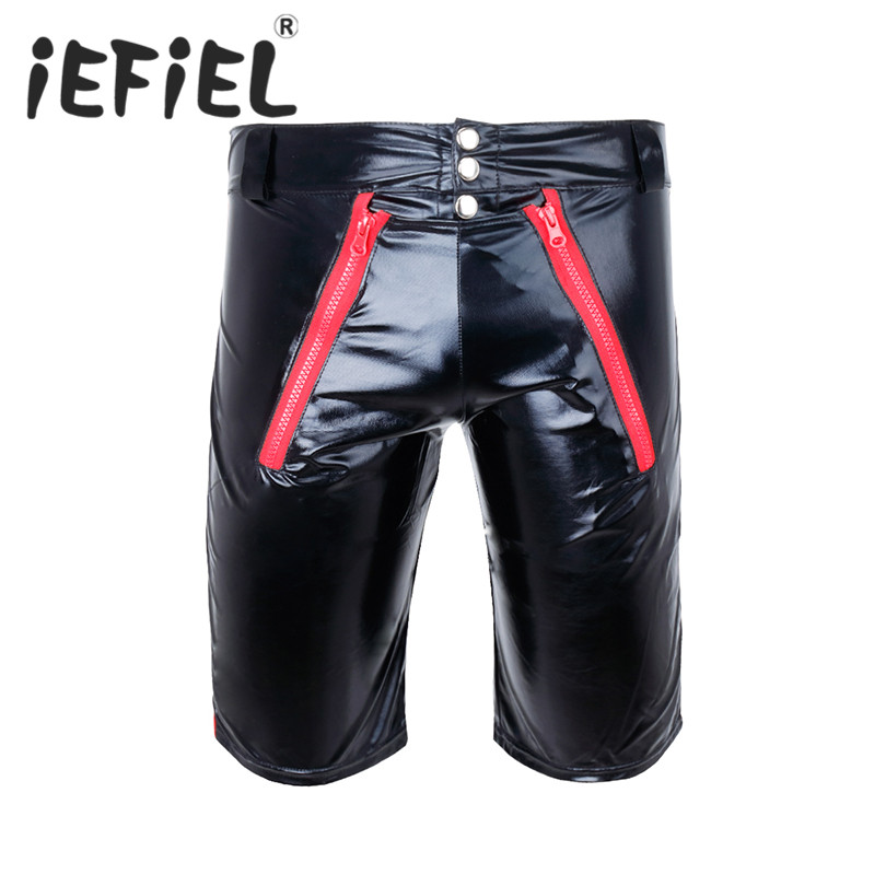 iEFiEL Fashion Sexy Mens Summer Men Patent Leather Wetlook Boxer Shorts Underpants Workout Gyms Male Nightclub Clubwear Clothes