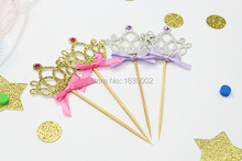 20pcs/lot Silver and Gold Crowns Paper Cake Topper Wholesale Free shipping