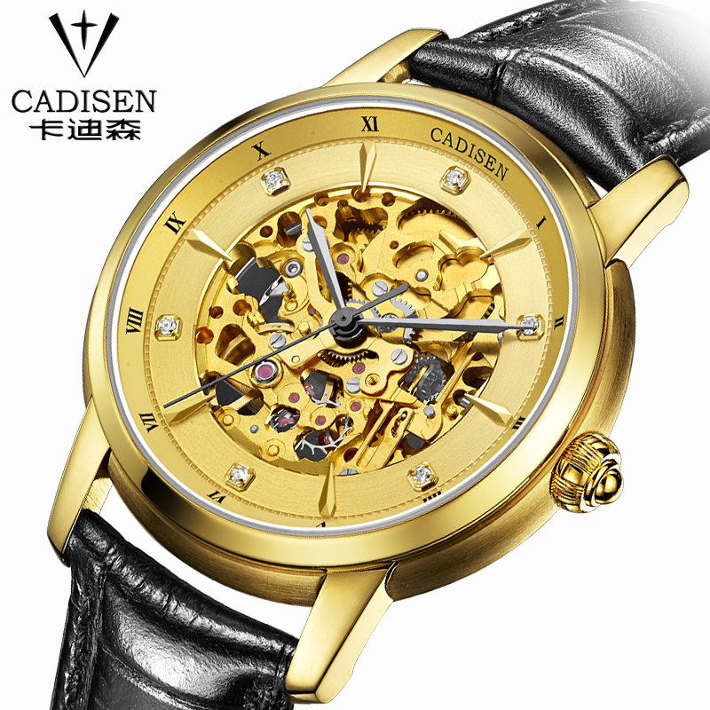 CADISEN New Design Bezel Golden Watch Mens Watches Top Brand Luxury Montre Homme Clock Men Automatic Skeleton Watch forsining 3d skeleton twisting design golden movement inside transparent case mens watches top brand luxury automatic watches