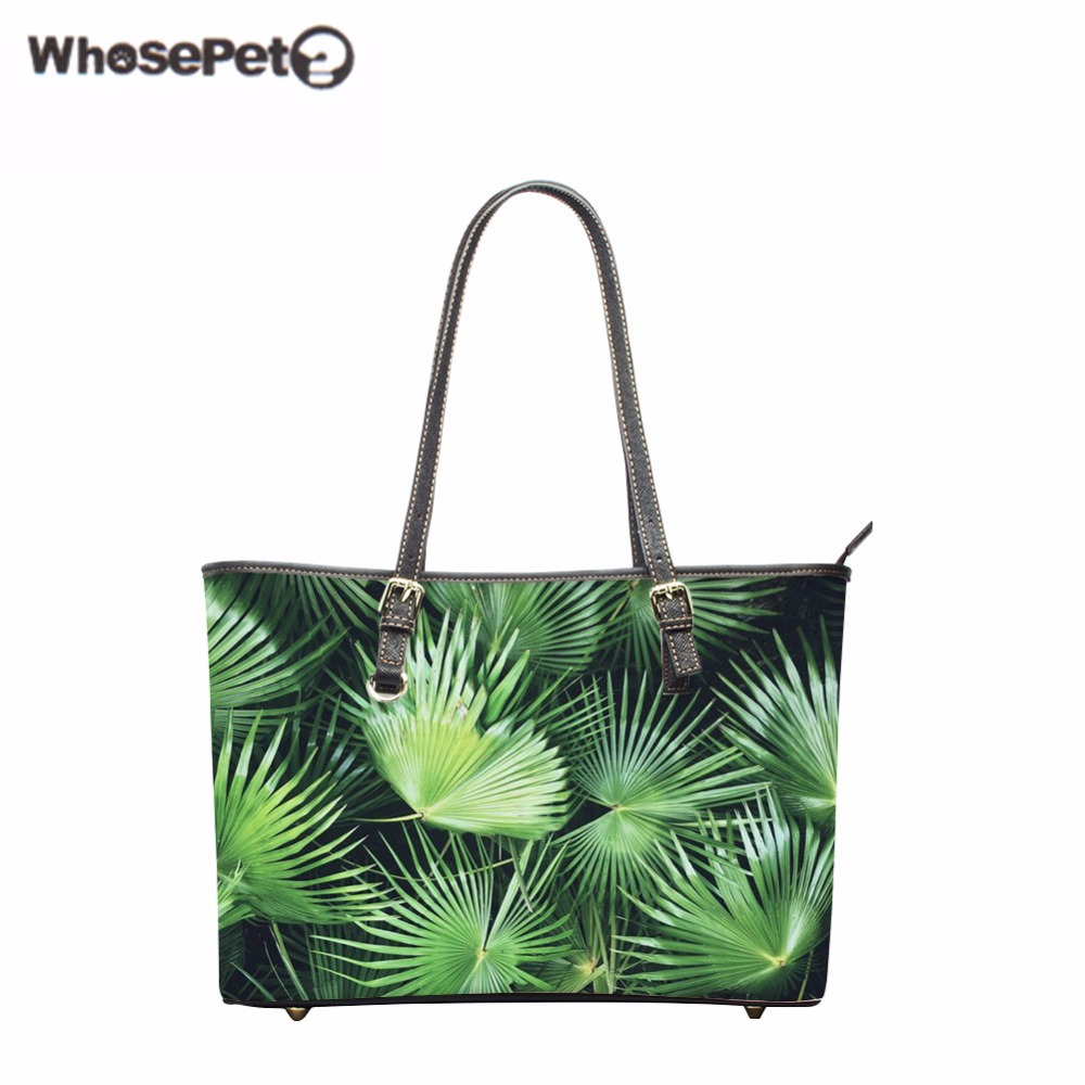 WHOSEPET Flowers Large Women Palm Tree Handbags New Shoulder Bags for Girls Fashion Lady Top-Handle Bags High Quality Tote Bag