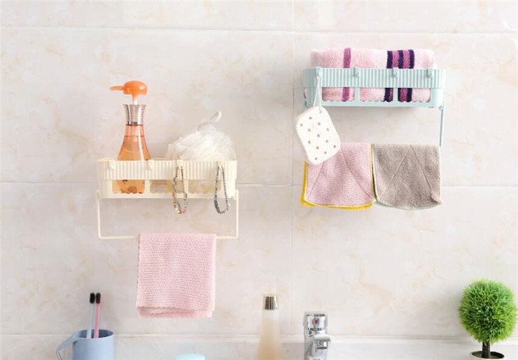 Creative Bathroom Shelf With Towel Rack Adhesive Badkamer Rek Storage Rack Corner Shower Shelf Kitchen Bathroom Holder