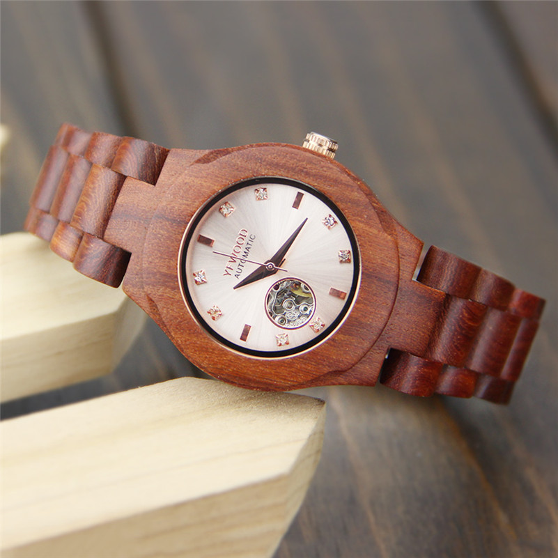 Luxury Brand Women's Mechanical Watches Natural Wood Strap Men Watch Fashion Casual Lovers Wristwatch relogio masculino 2017 luxury brand lovers watches men women automatic mechanical watch fashion casual clock male wood wristwatch relojes hombre