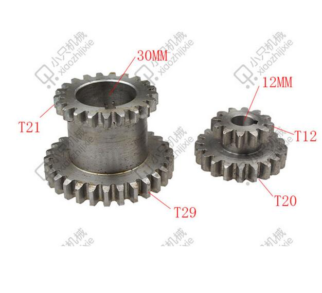 free shipping CJ0618 2 pcs / set Teeth T29xT21 T20xT12 Dual Dears Metal Lathe Gears For Sale