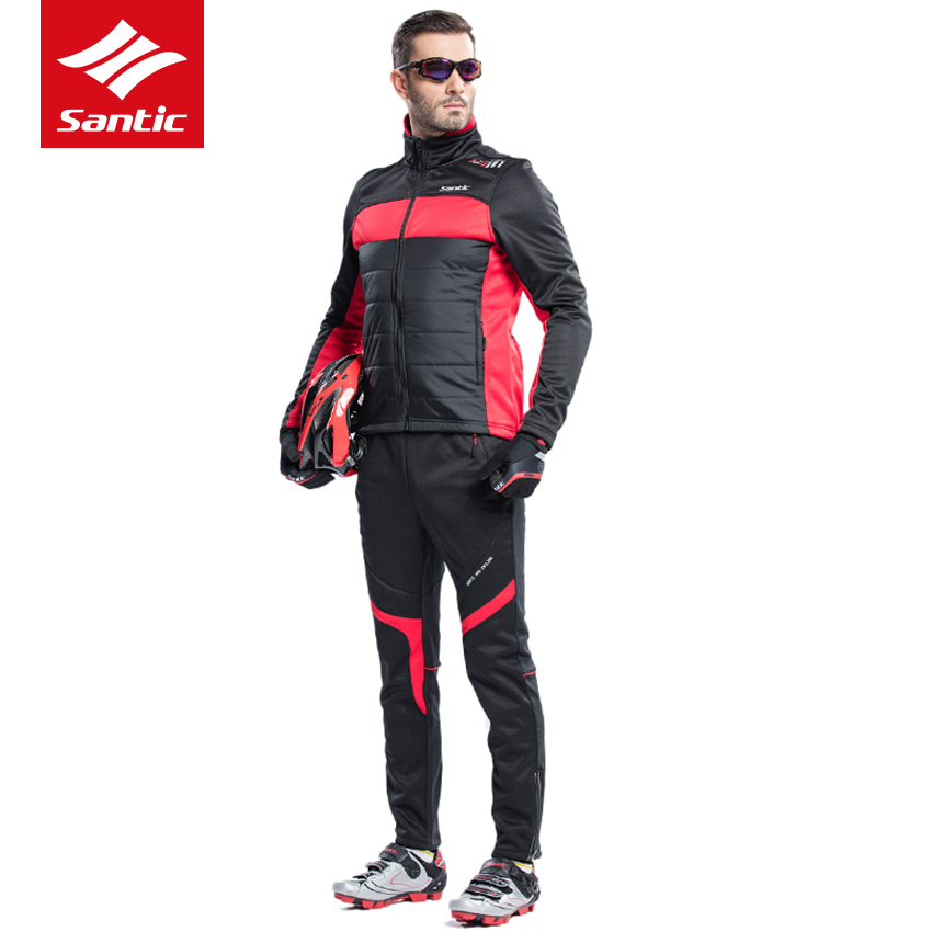 Santic Winter Cycling Jersey Men Set Long Sleeve Padded jacket Set Thermal Fleece Windproof Warm MTB Road Bike Bicycle Clothing  wosawe outdoor sports windproof winter long sleeve cycling jacket unisex fleece thermal mtb riding bike jersey men s coat