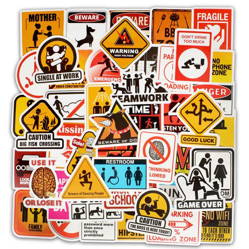 50 piezas 2019 nuevo pegatinas de advertencia peligro prohibición signos recordatorio Doodle pegatinas bomba Scrapbooking abrigo Vintage coche de la motocicleta
