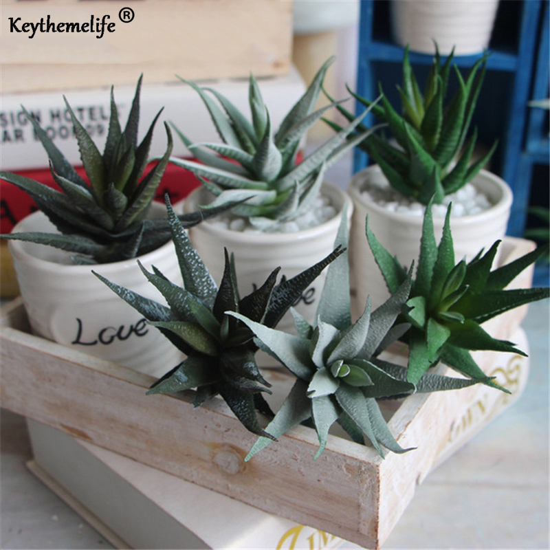 Keythemelife 3pcs/lot Artificial Plants Aloe Flower Succulents Simulation Adornment Photography Props DIY Bonsai Garden Decor A3
