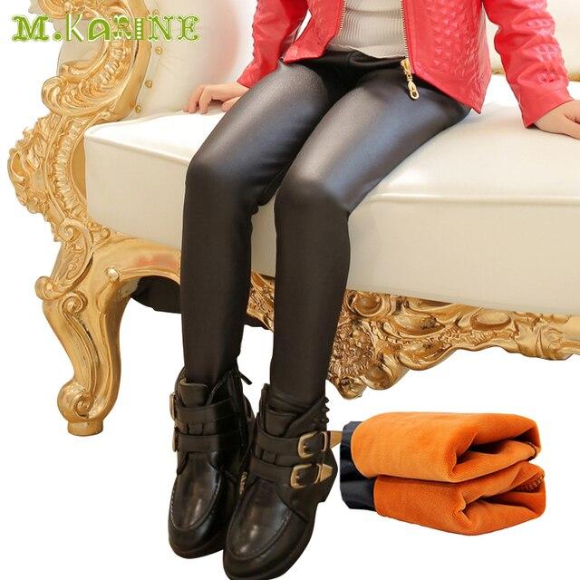 ff7246f110eb0c Fashion Winter Thick Fleece Warm Girls Leggings Skinny Black Kids Faux Leather  Pants Baby Girls PU