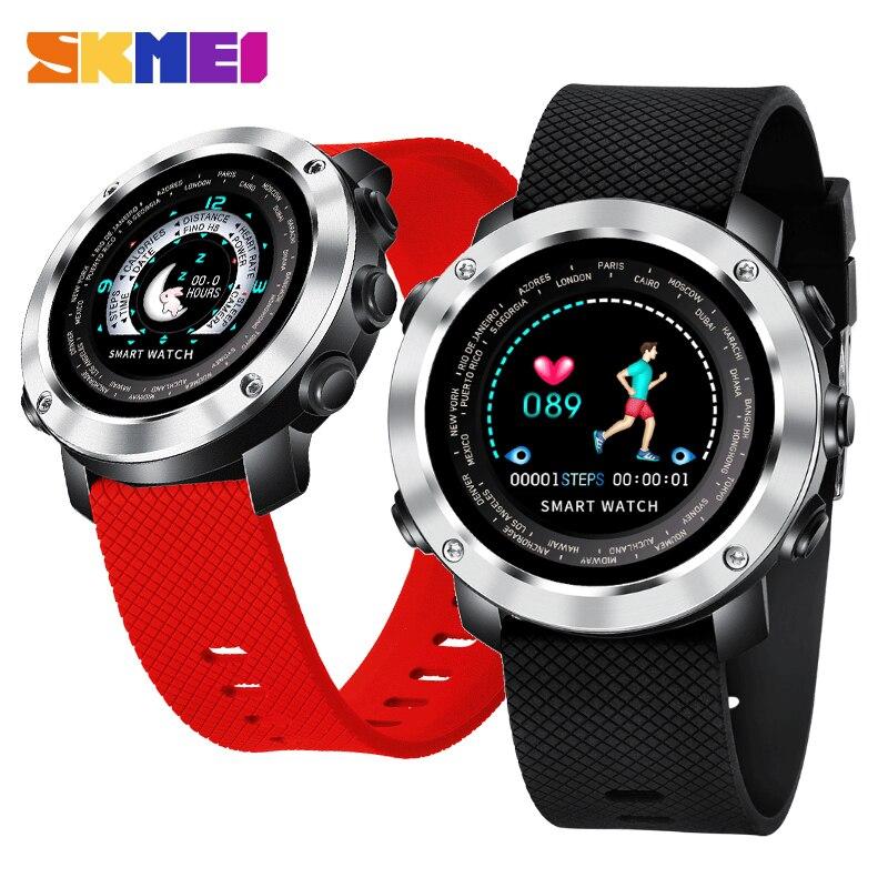 SKMEI Smart Digital Watch Men Women Bluetooth Heart Rate Monitor Fitness Calories Color Screen Waterproof Wristwatch